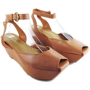 BCBGirls Leather Ankle Strap Platform Wedges